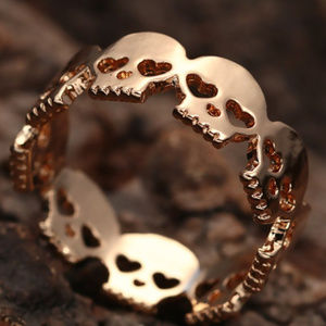 Jewelry - New Skull Band Ring - Gold Tone